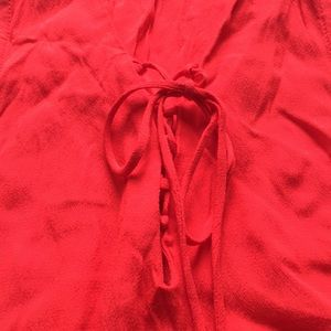 Ro & De Tops - Ro & De tie up bright tomato red ruffle shirt